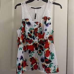 Floral print tank with lace back